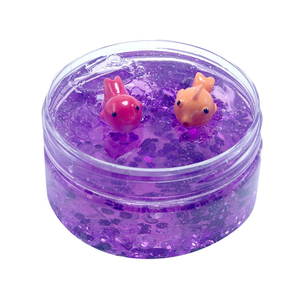 Cyhulu Cream Scented Slime Putty Fluffy Slime Toys, Fashion 100ML Fishbowl Bead Sequin Colour Goldfish Mud Mixing Cloud Slime Clay Kids Stress Reliever Toy, Party Birthday Favors (Purple, One size)