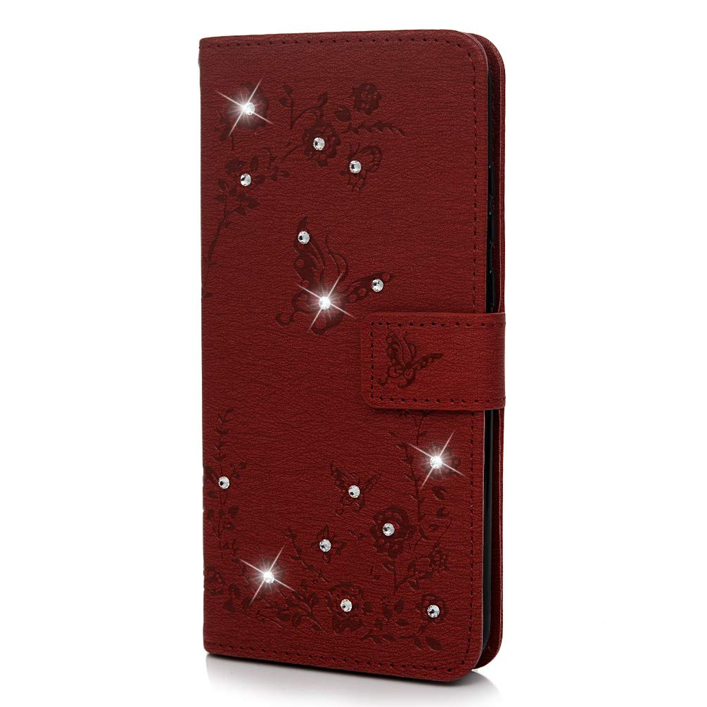 Vagenno Huawei P Smart 2019/Honor 10 Lite Case, Diamond PU Leather Flip Case Notebook Wallet Case Embossed Butterfly with Soft TPU Bumper Kickstand Card Holder Slots Protective Skin,Gray