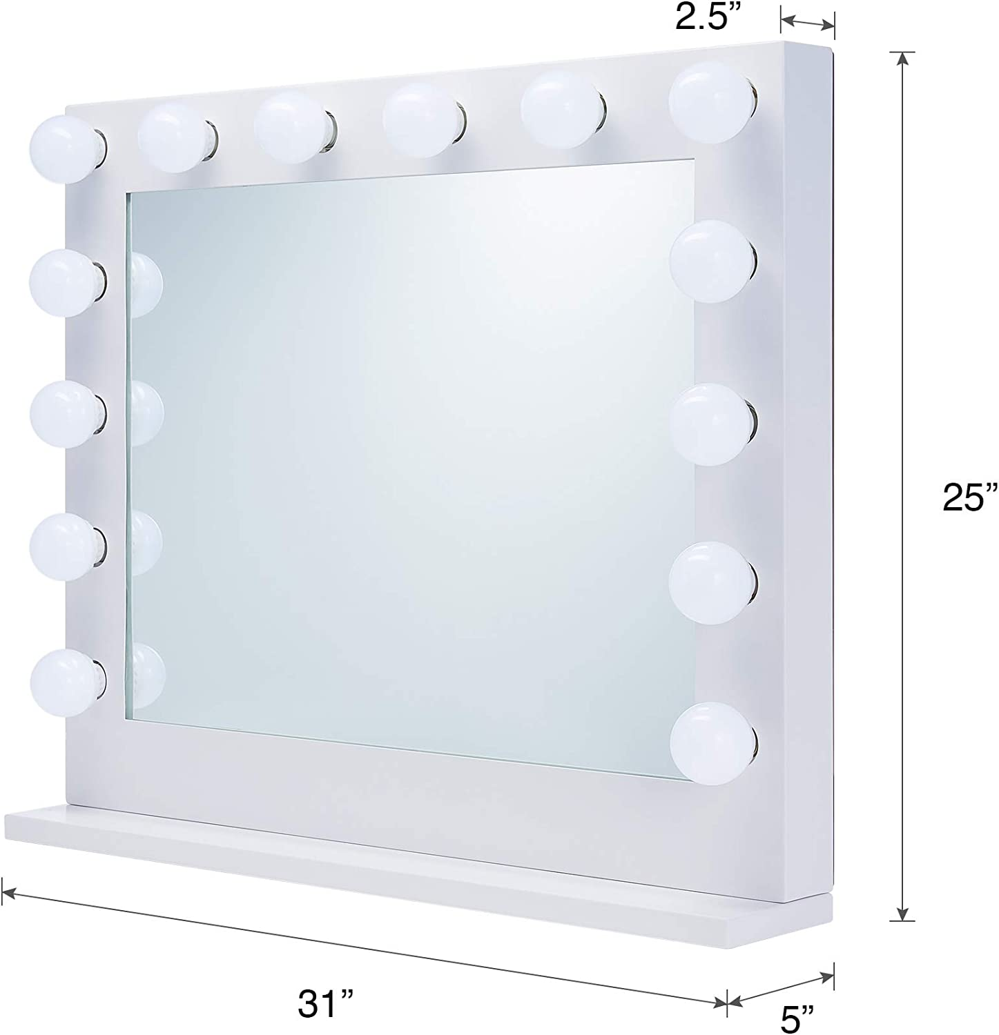 CO-Z Hollywood Makeup Mirror with Lights Dimmable Wall Mounted or Tabletop White Hollywood Vanity Mirror with 15 LED Bulbs Large Lighted Vanity Mirror for Dressing Room Bedroom Studio 30.7 x 25.