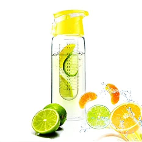 JUNGEN Botella de agua Exprimidor de fruta, Lemon Juice botella de hacer 700ml, Amarillo
