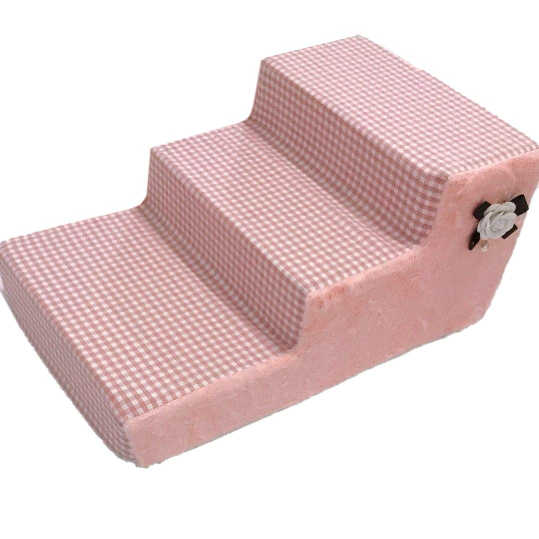 63×40×30cm Qz Pet Cat Stairs 3-Steps Ladder for High Bed for Small Dogs, For Bedroom Living Room Sofa Couch, Removable, Washable Cover, Pink (Size   63×40×30cm)