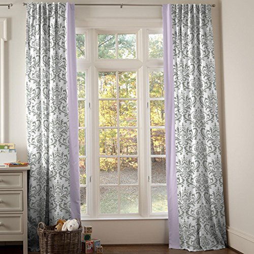 Carousel Designs Lilac and Gray Traditions Damask Drape Panel (Set of 2) 96-Inch Length Standard Lining 42-Inch Width by Carousel Designs