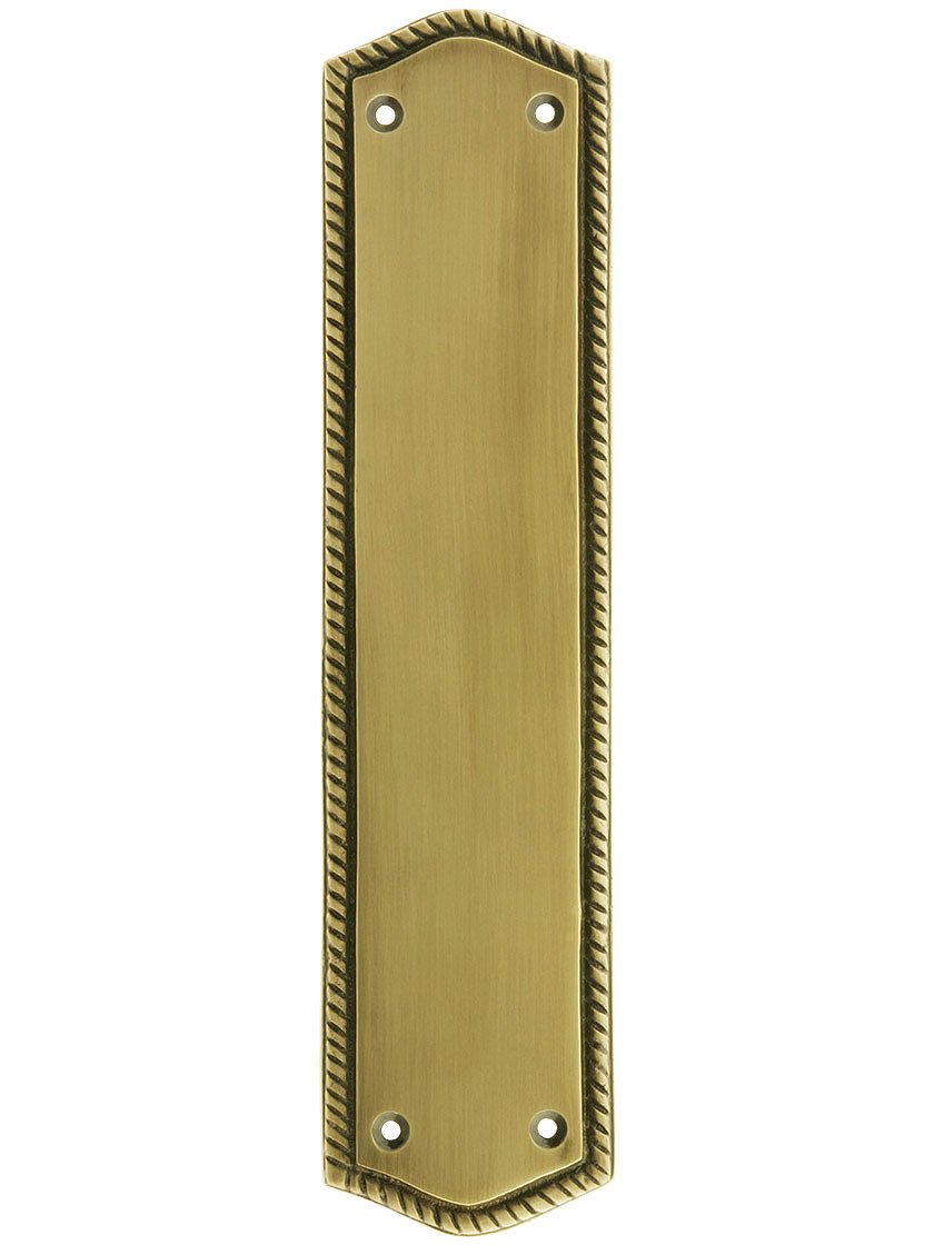 10 1/2'' Rope Push Plate In Antique Brass