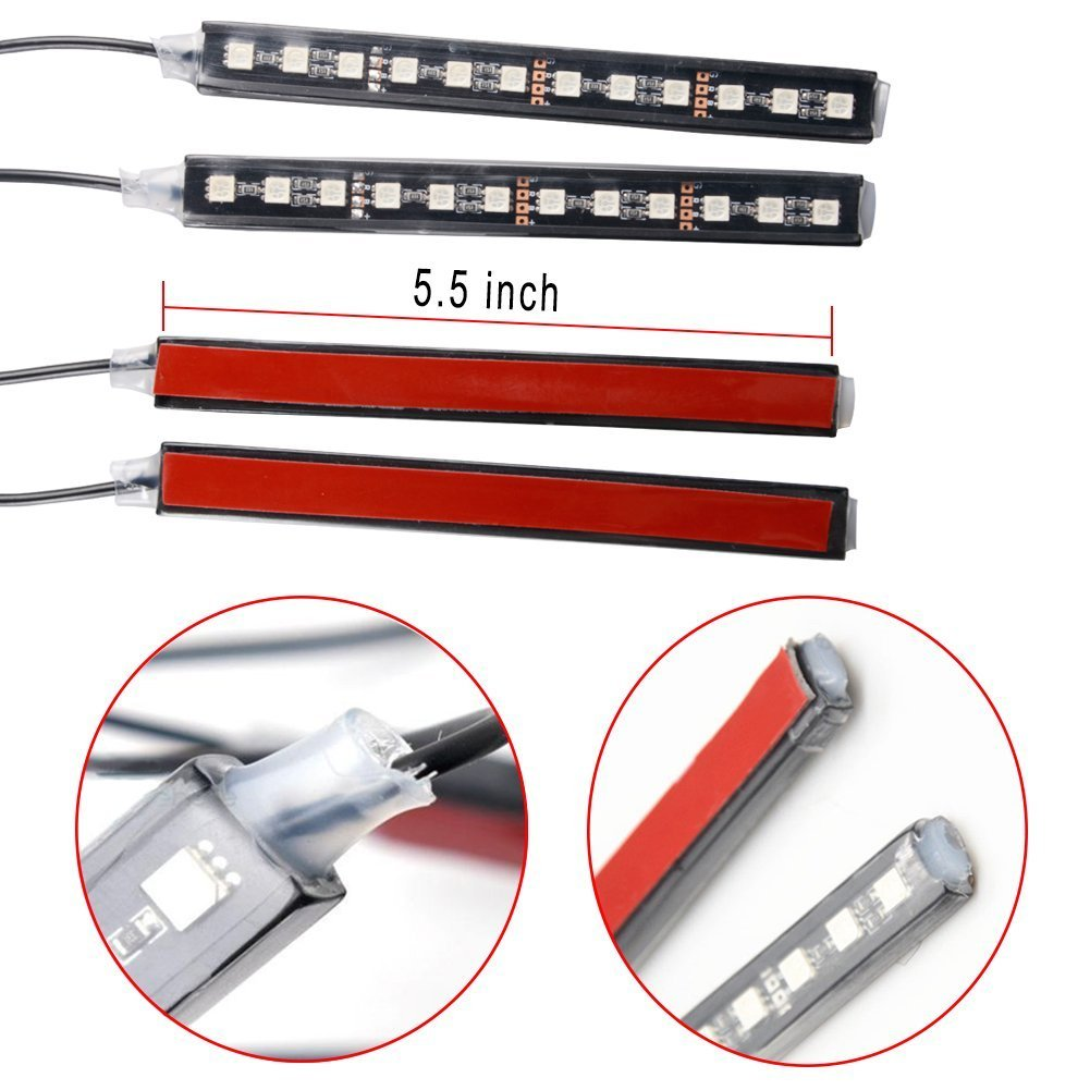 Car Led Strip Light Ficbox 4pcs 48 Leds Multi Color Red 12 Volt Cigarette Lighter Wire Diagram Interior Auto Atmosphere Lights Waterproof Glow Neon Lighting Kit With