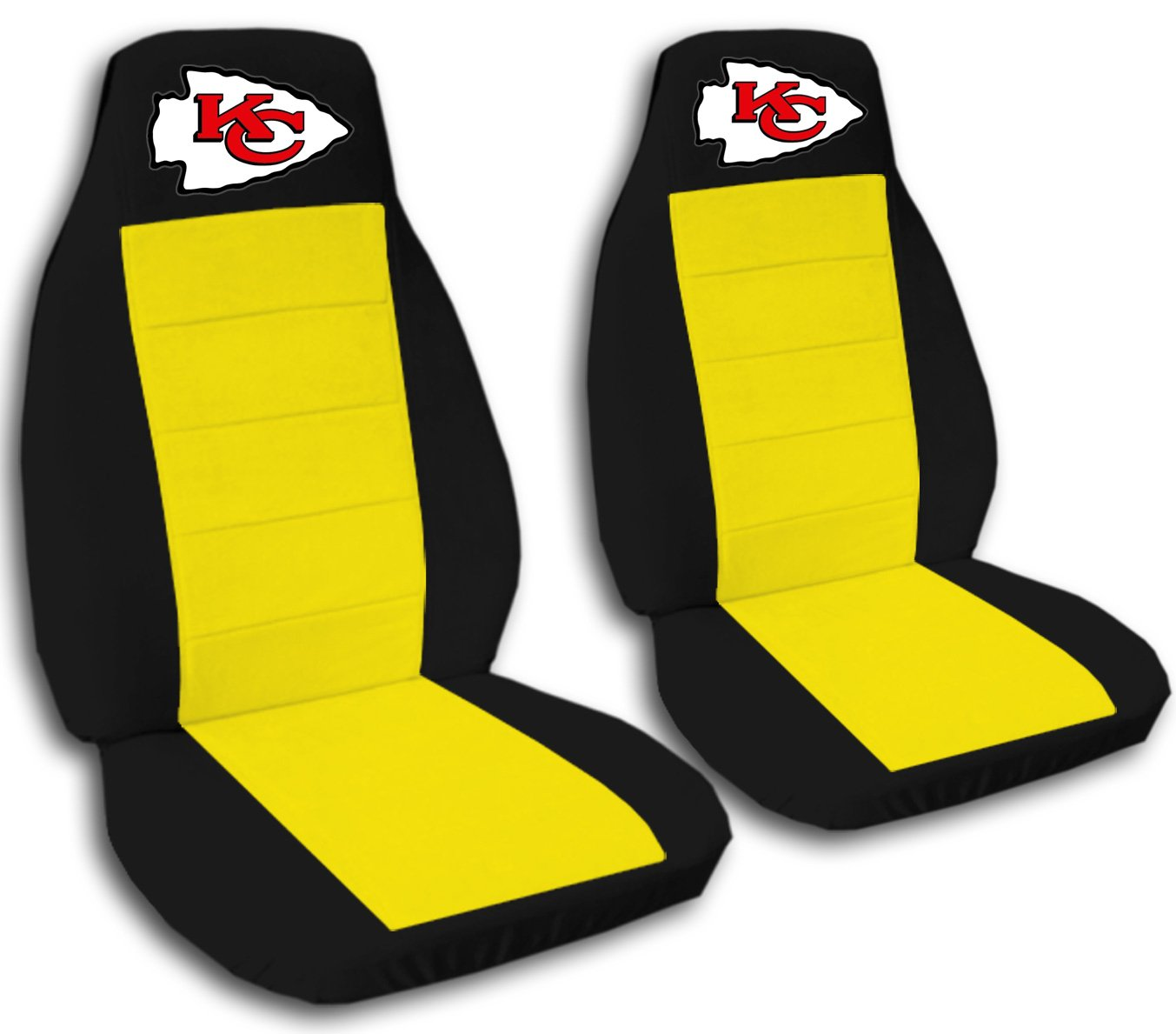 2 Black and Yellow Kansas City seat covers for a 2007 to 2012 Chevrolet Silverado. Side airbag friendly.