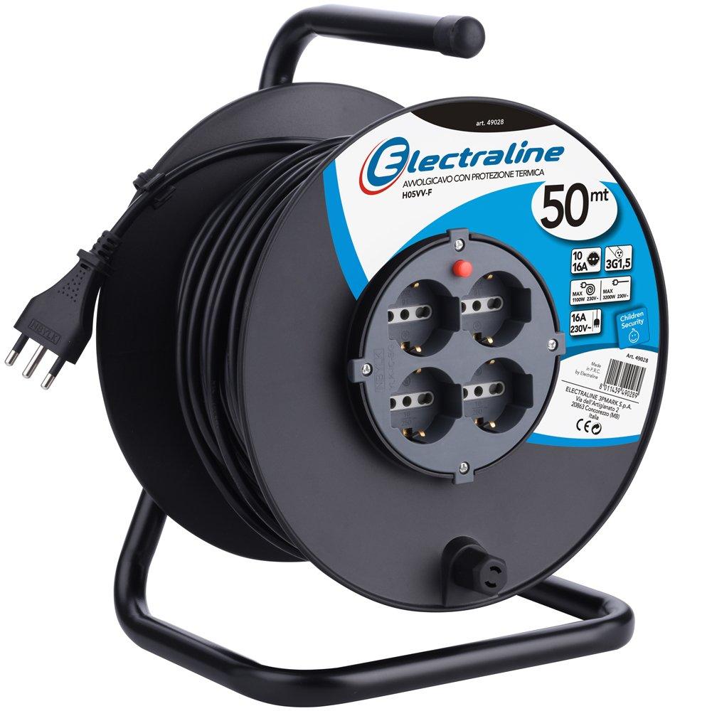 Electraline 49217 prolunga elettrica con avvolgicavo 15 mt 4 prese polivalenti (schuko + 10/16A) spina grande 16A, con protezione, nero - sezione cavo 3G1,5 mm² 5 mm²