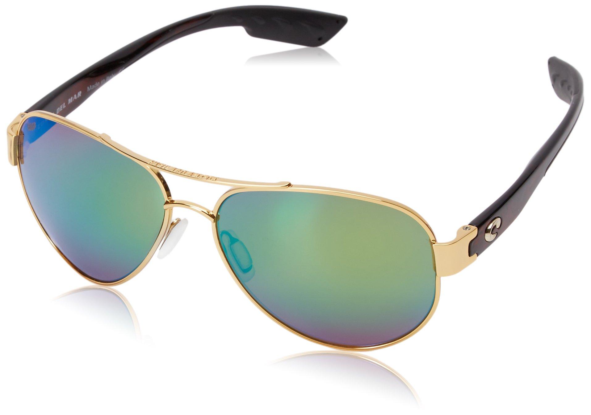 Costa del Mar South Point Polarized Iridium Aviator Sunglasses, Gold, 59.0 mm