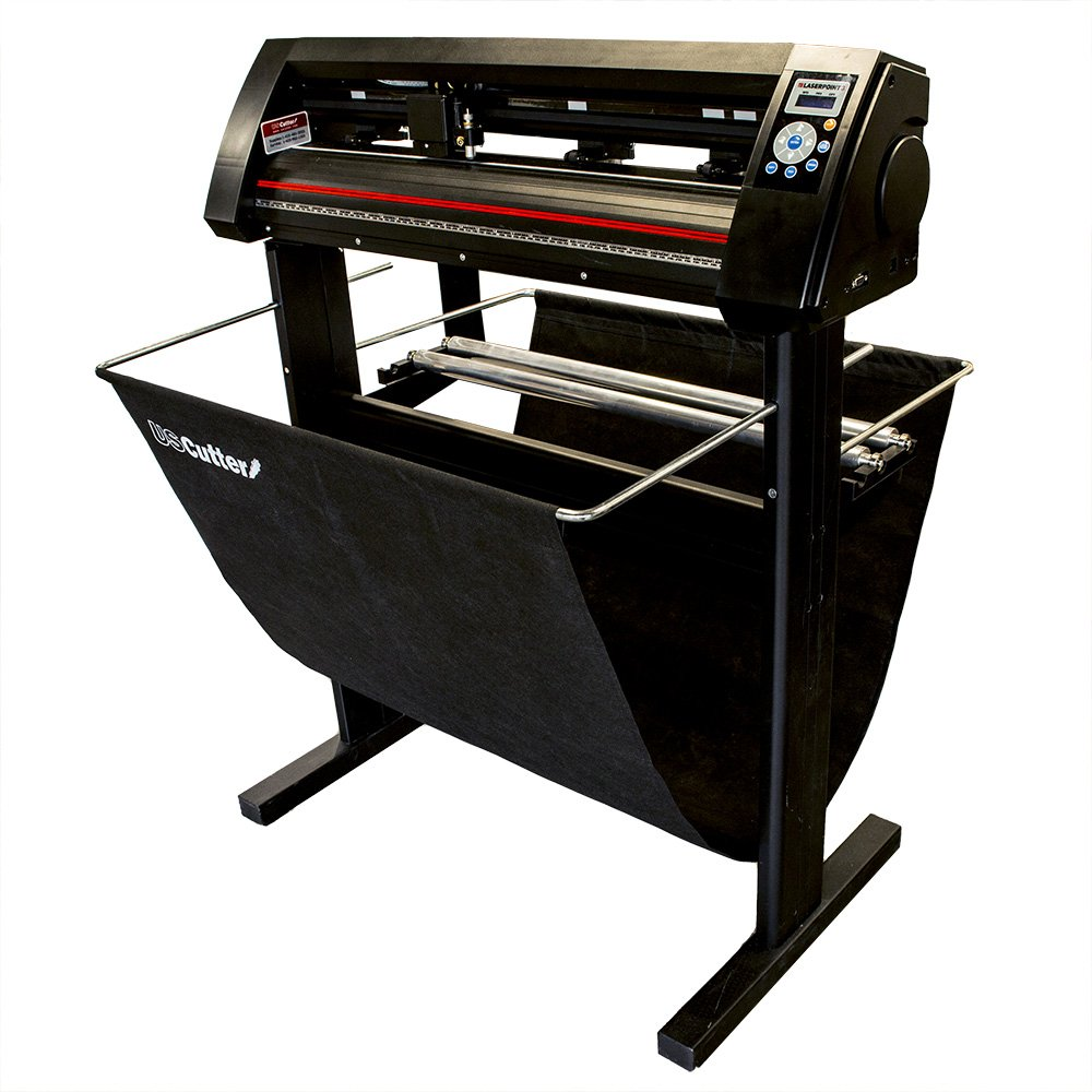 USCutter New 34'' Vinyl Cutter LaserPoint 3 (LP3) with ARMS Contour Cutting, Stand and Basket