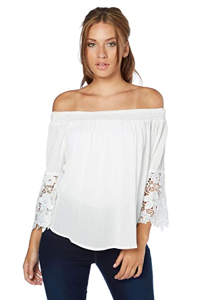 ecce3692bad Roman Originals Women's Lace Frill Sleeves Bardot Top - Ladies Off Shoulder  Top for Casual Everyday