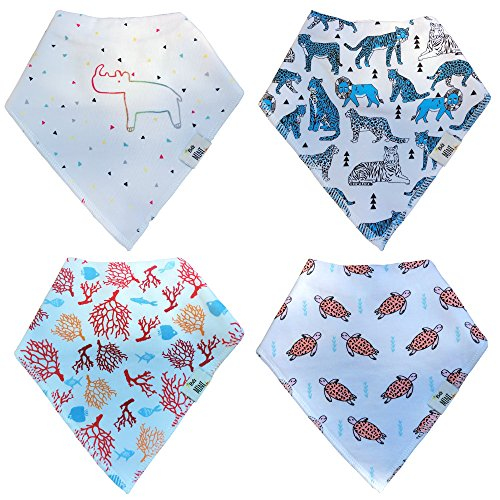 Essentielle Gift Set - Endangered Animals - Baby Bandana Drool Bibs for Drooling - Teething by BG Mini 4 Pack Absorbent Organic Cotton Gift Set
