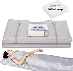 Lilypelle Sauna Blanket, Professional Far-Infrared Heat Sauna Heating Blanket with 50pcs Plastic Sheetings, 2 Zone Controller, Anti Ageing Beauty Machine for Body Shape Slimming Weight Detox Sp