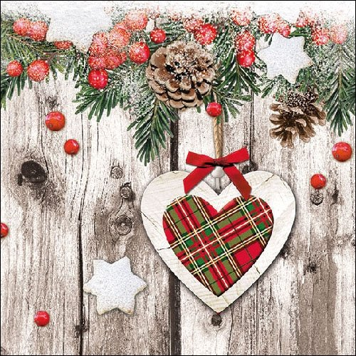 4 Paper Napkins for Decoupage - 3-ply, 33 x 33cm - Christmas - Scottish Heart (4 Individual Napkins for Craft and Napkin Art.) Tigers on the Loose