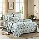 Floral Patchwork Quilt Coverlet Set Queen Exquisite Flower Printed Quilt Set Cotton 3 Pieces Luxury Reversible Bedspread Set Colorful Green Quilt Comforter Set Warm Winter Quilt Set