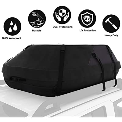 15 Cubic Feet Thickened Car Cargo Roof Bag- Waterproof Universal Soft Rooftop Bag Luggage Carriers for Car with/Without Racks: Automotive