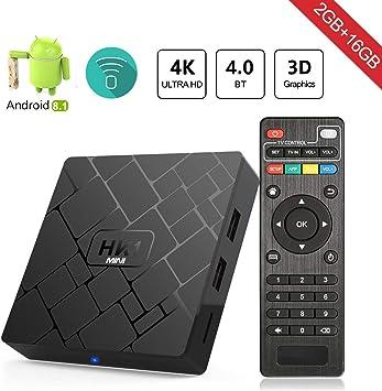 Android 8.1 TV Box Aumkoo HK1 Mini Inteligente de Cuatro núcleos 64 bits 2 GB de RAM + 16GB ROM 4K TV Box Reproductor de Medios H.265 Descodificación 2.4GHz WiFi: Amazon.es: Electrónica