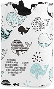 Whale White Laundry Basket Collapsible Hamper 45 L Washing Bins Storage Bag with Handles Bathroom