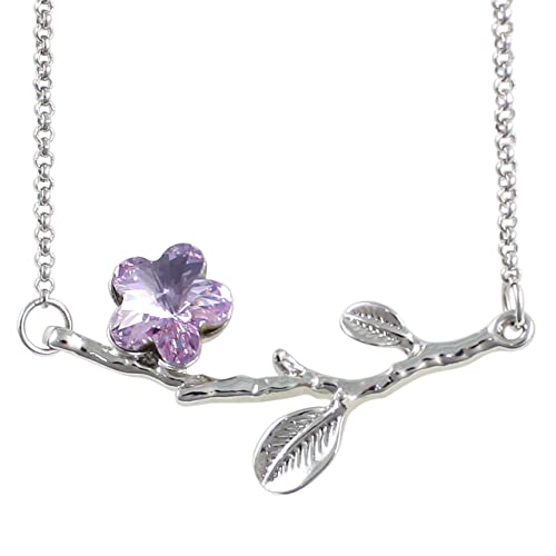 Dahlia Spring Branch Cherry Blossom Rhodium Plated Necklace with Crystals from Swarovski