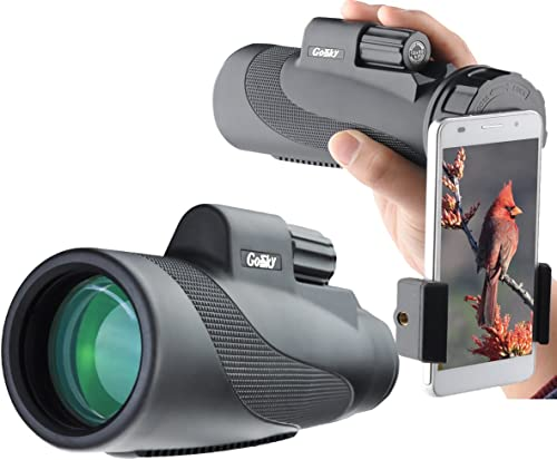 Gosky Titan 12X50 High Power Prism Monocular and Quick Smartphone Holder - Waterproof Fog- Proof Shockproof Scope