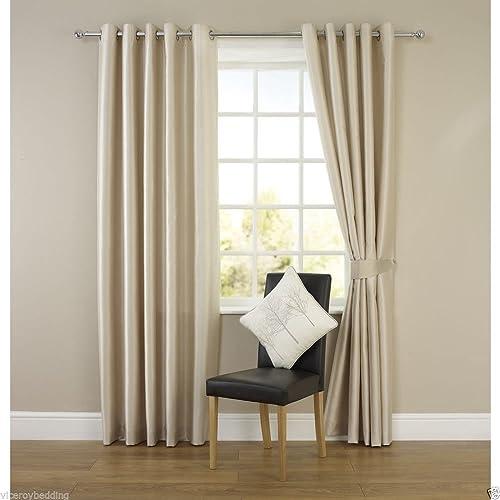 Wilko Faux Silk Eyelet Curtains Plum 167 X 137cm: Cream Curtains 90x72 Eyelet: Amazon.co.uk