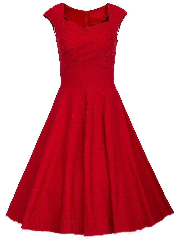 Babyonline Damen Ärmellos Rockabilly 50er Jahre Vintage Rock Petticoat Faltenrock Abendkleider