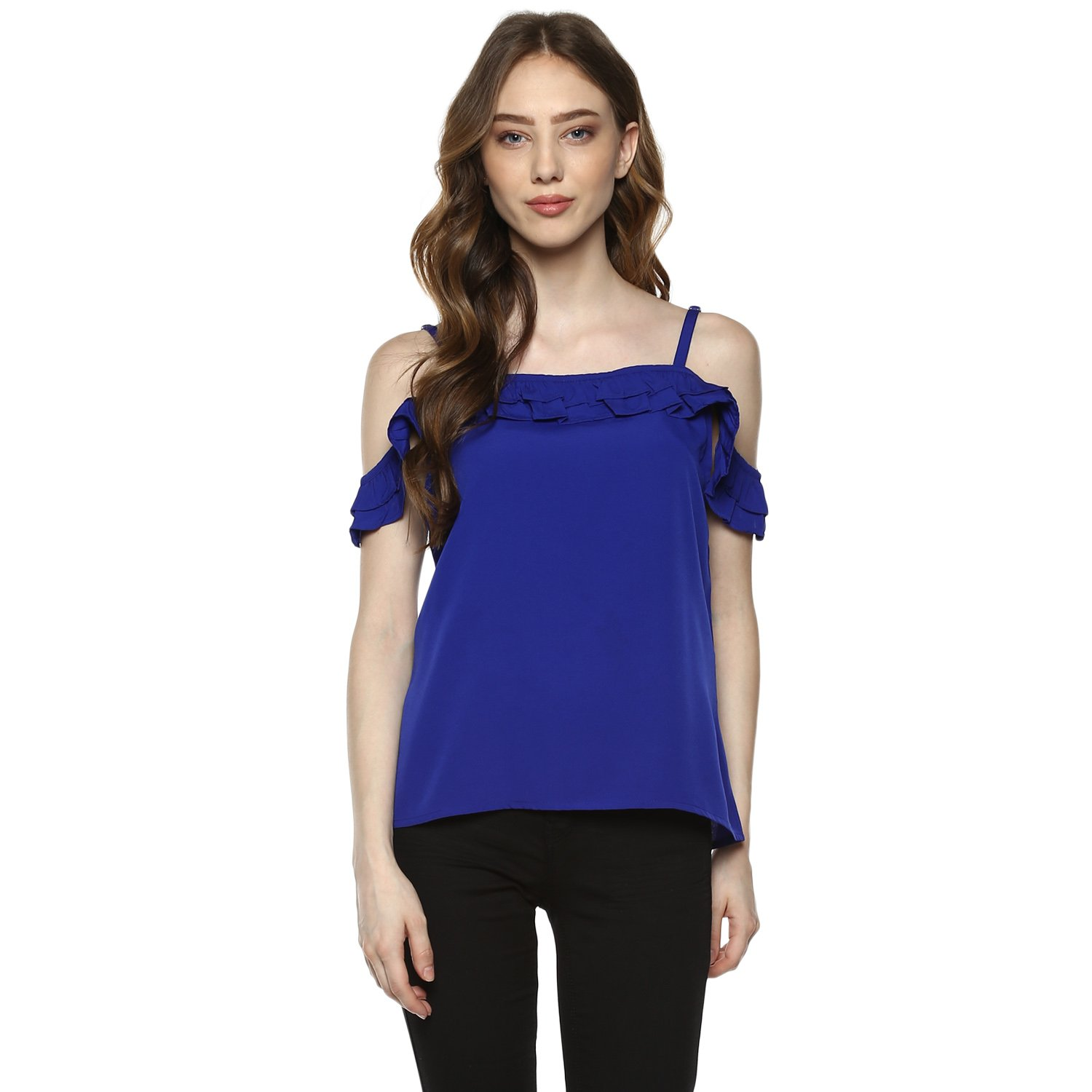 23658d351dc D'amor Blue Off Shoulder Plain Crepe Top for Women: Amazon.in: Clothing &  Accessories