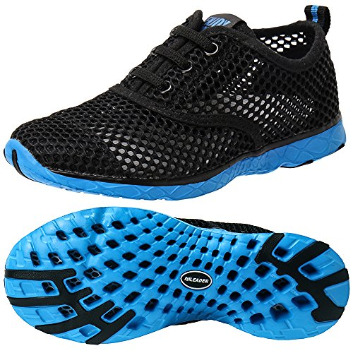 ALEADER Kid's Quick Dry Water Shoes Comfort Walking Sneakers Black/Blue 3 M US Little Kids Boys Black Blue Water Shoes