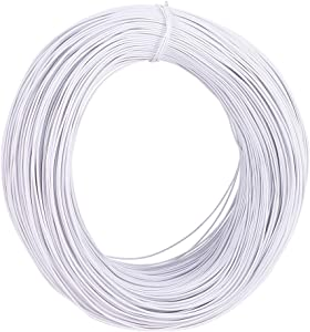PH PandaHall 600 Feet Tree Training Wires 1mm Garden Twist Ties White Twist Cable Cord Wire Ties Reusable Fastening for Party Candy Bags Garbage Bags Bonsai Branches Small Trunks