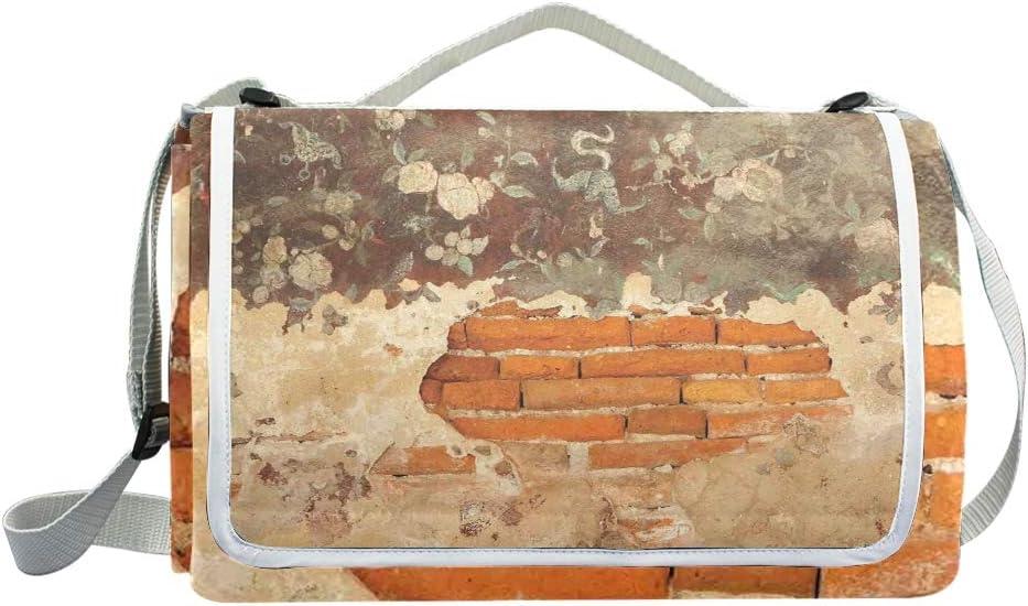 XINGAKA Coperta da Picnic Tappetino Campeggio,Vecchie rovine storiche Che scolpiscono con Ivy Patterns Sunset Eastern Mystic Sky,Giardino Spiaggia Impermeabile Anti Sabbia 9