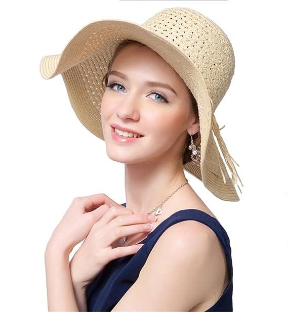 186a16a256fdd Women Floppy Hat Bowknot Straw Hat Wide Lines Beige Brim Beach Hat ...