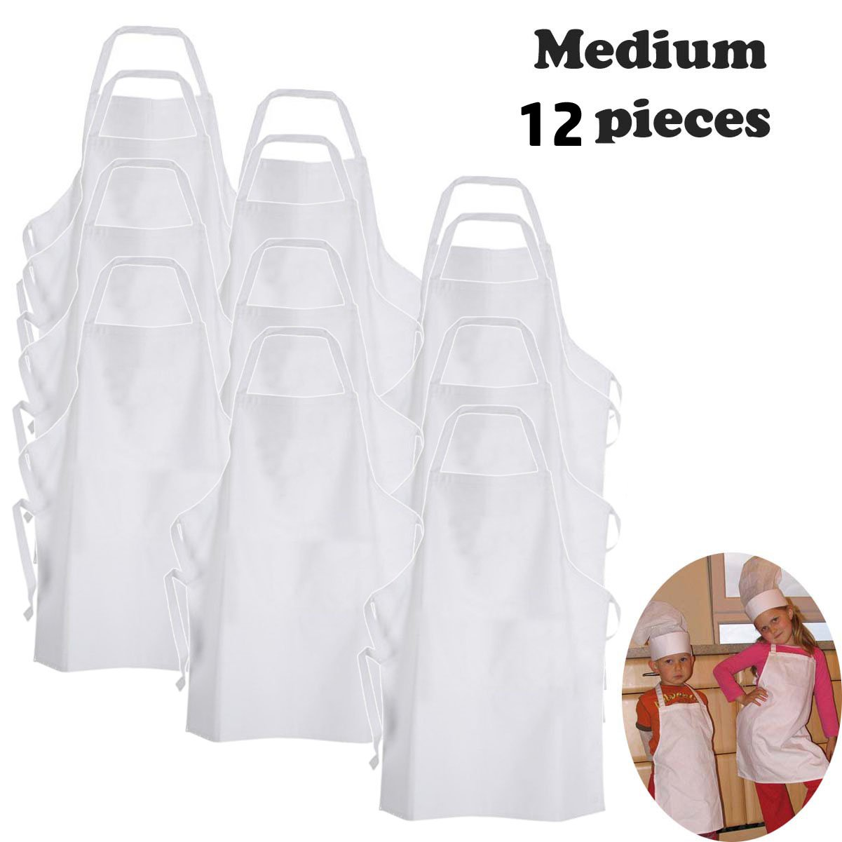White fabric kids'chef apron to decorate with marker, paint, iron on or embroidery (M: 3-9 Years, 12-pc pack) by Twinklebelle