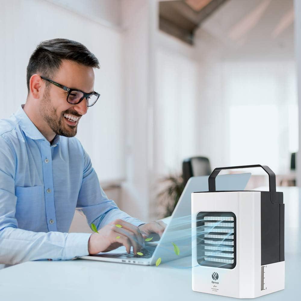 Purificateur Climatiseur Portable Ventilateur de bureau Humidificateur 4 en 1 Climatiseur Mobile USB Lext/érieur Mini Refroidisseur Dair Personnel Bureau 3 Vitesses avec Poign/ée Pour Maison