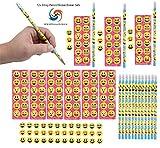 2 Dozen (24x) Emoji Pencil/Eraser/Sticker Set Party Favors! by M & M Products Online