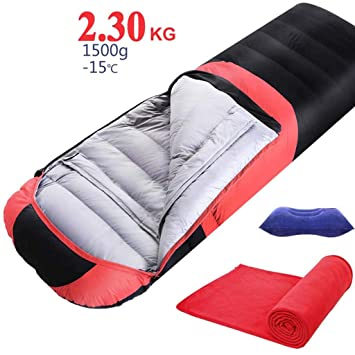 Mcoutdoor - Saco de Dormir para Adultos (Relleno de plumón de Pato, 1500 g