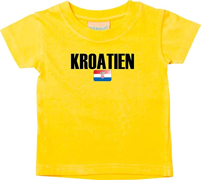 Shirtstown Bebé Niños Camiseta Fútbol Camiseta de País CROACIA - amarillo, 0-6Monate