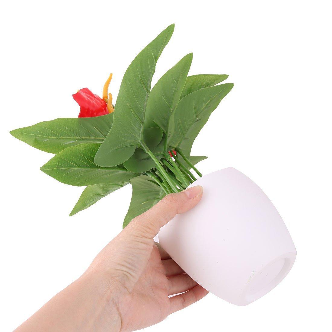 Amazon.com: eDealMax Oficina de plástico cubierta de la maceta Flor de la planta Artificial del arte Adorno de escritorio: Home & Kitchen