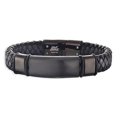 f54233148116 SAVE BRAVE para hombre pulsera de cuero y acero inoxidable negro 19 cm  SBB-ROMA-BK-19 Roma  Amazon.es  Joyería