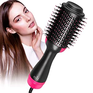 One-step Hair Dryer Brush and Hot Air Brush, Electric Hair Dryer Volumizer with Negative Ion Curling Dryer Brush Styler, Hair Straightening Brush, Rotating Blow Dryer Brush, Black 2 in 1 110v, by Yeed
