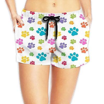 MASDUIH Womens Quick 3D Printing Dry Beach Shorts Animal Paw Pattern Casual Shorts