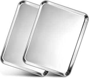 Toaster Oven Pan Tray, P&P CHEF Stainless Steel Baking Pan Cookie Sheet, Set of 2 (12.5'' x 9.75'' x 1''), Rolled Edge & Round Corner, Mirror Finished & Easy Clean