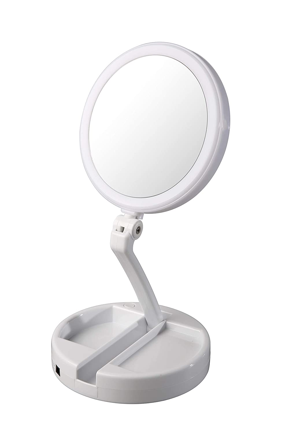 Floxite 12x Plus 1x Circle Lite Folding Vanity Travel Mirror