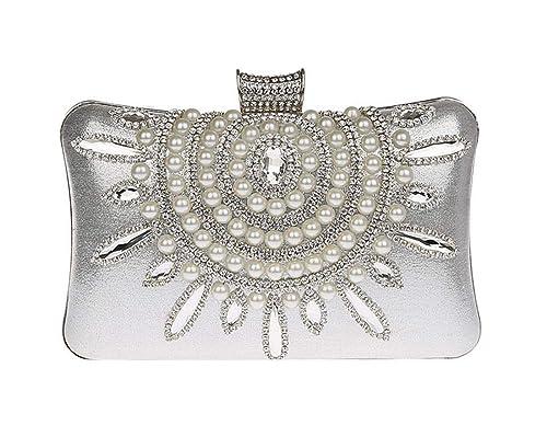 KELUOSI Donna Pochette da Cerimonia Pochette Sera Sacchetto Elegante  Borsetta Sposa Diamante Clutch a Mano ( 3c0660f05c7