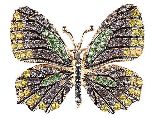 Gyn&Joy Yellow and Grey Crystal Rhinestone Winged Butterfly Pin Brooch Gold Tone