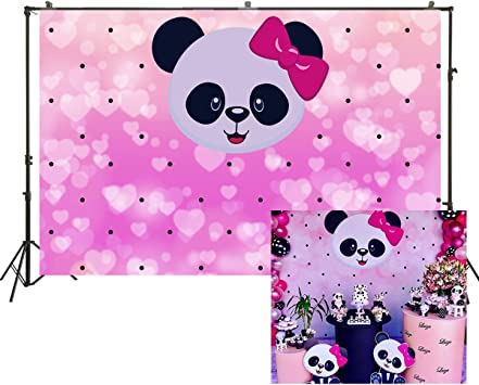 Amazon Com 7x5ft Cartoon Cute Panda Backdrop Girl Birthday Party Decoration Baby Shower Pink Background Black Dots Flash Heart Shapes Wallpaper Studio Props W 2096 Camera Photo