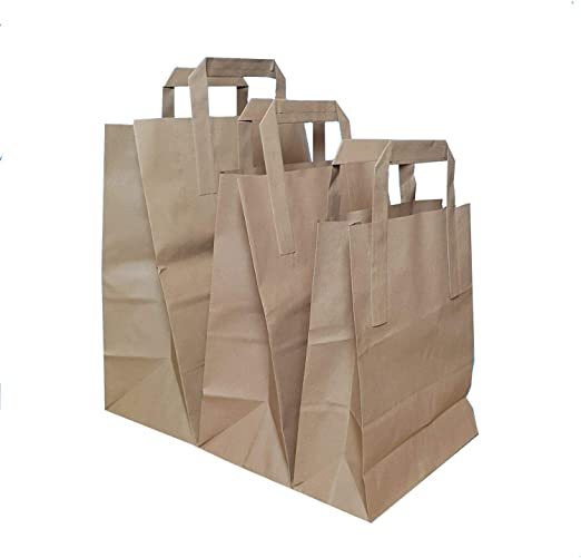 Paper Carrier Bags White SOS Kraft Takeaway Party Lunch Food Flat Handles