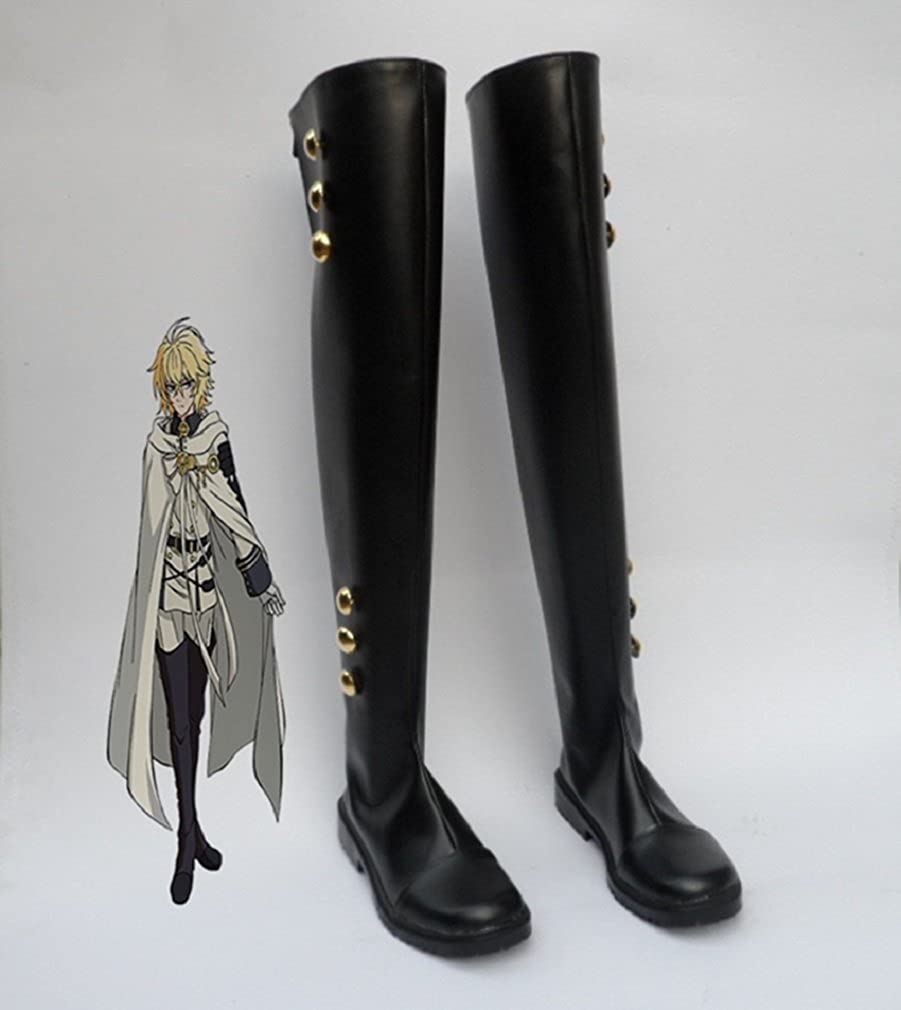 Vampire Reign Mikaela Hyakuya NEW Boot Shoes Cosplay Boots Seraph of the End