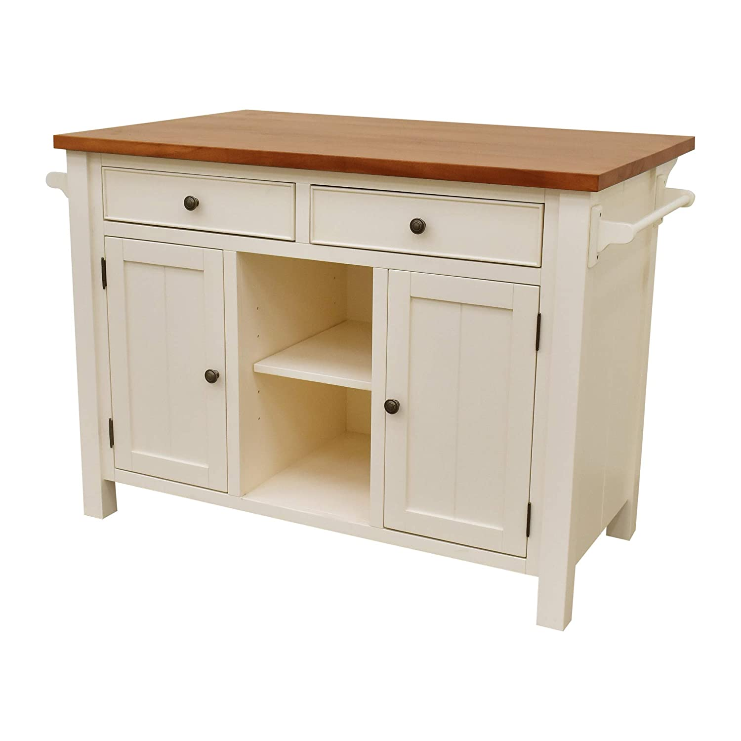 222 Fifth Atlantic White Kitchen Island with Overhang