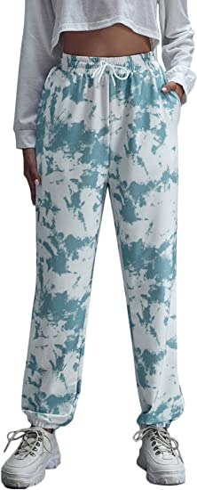 Didk Women S Tie Dye Print Drawstring Elastic Waist Sweatpants With Slant Pockets Blue And White S Amazon Ca Clothing Accessories