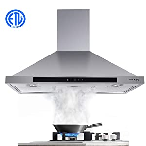 "30"" Range Hood, GASLAND Chef PR30SS 30-inch Stainless Steel Wall Mount Kitchen Hood, 3 Speed 450-CFM Sensor Touch Control Exhaust Hood Fan, Convertible Chimney-Style, LED Lights, Aluminum Mesh Filters"