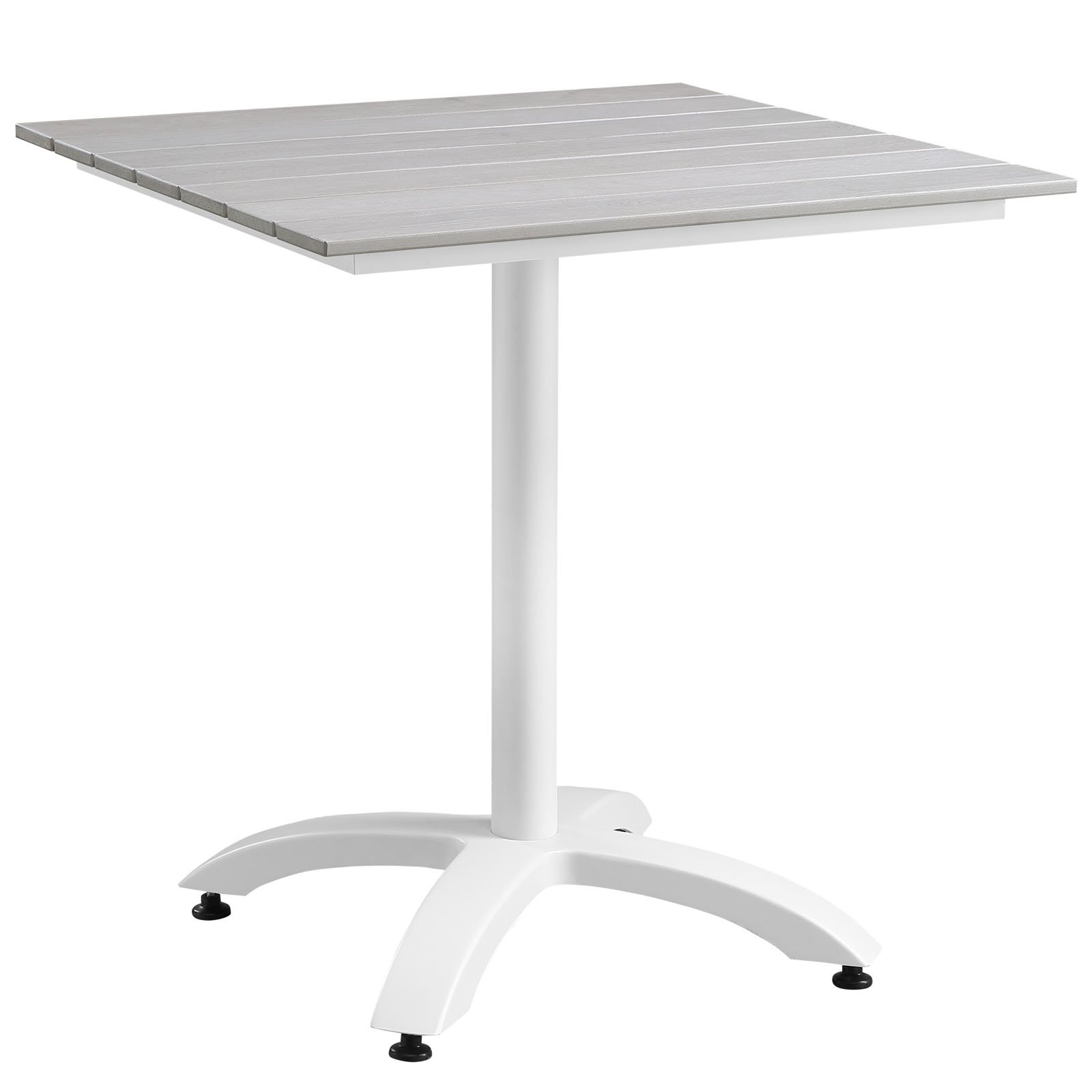 Plutus Brands MF1848 Outdoor Patio Dining Table, 28'', White Light Gray by Plutus Brands