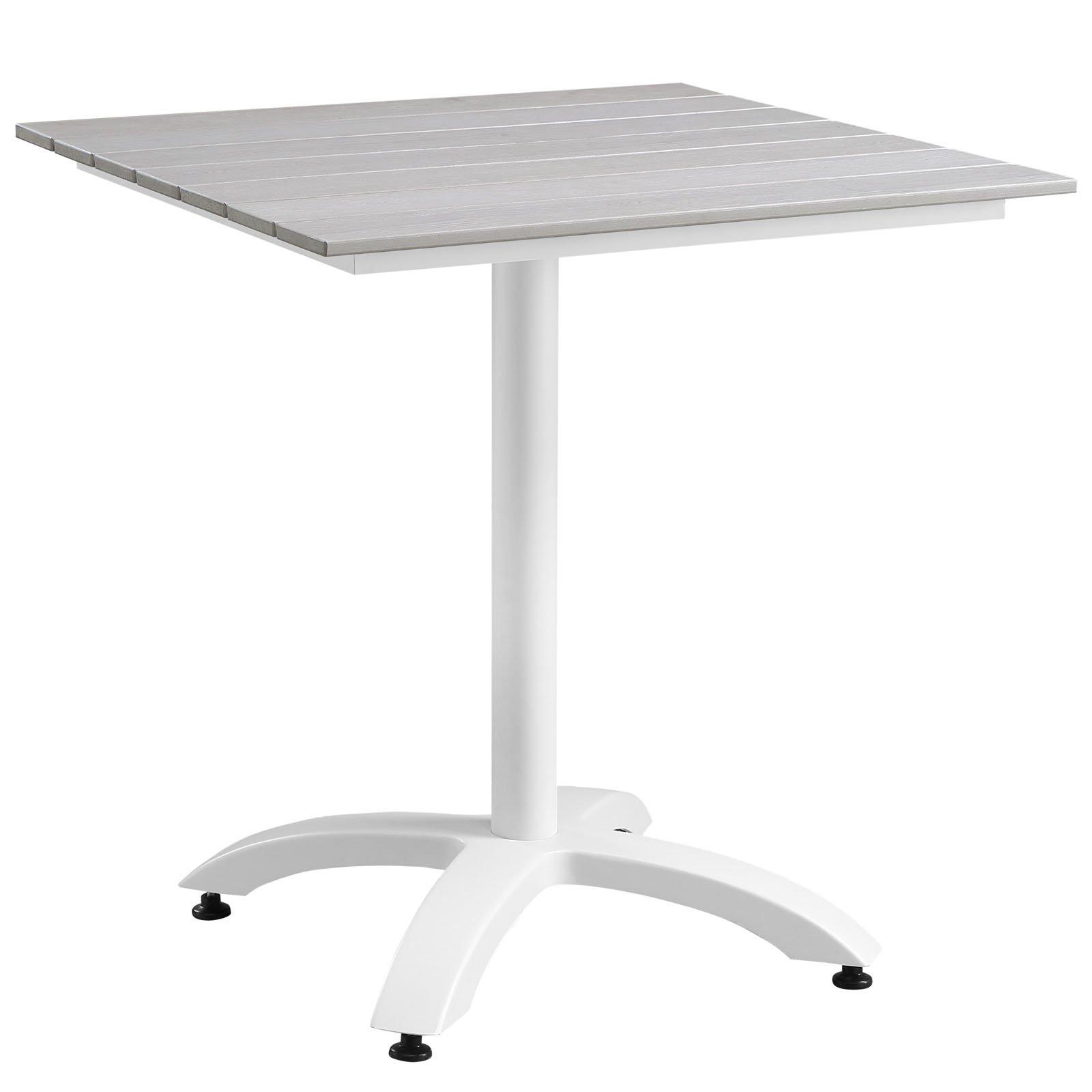 Plutus Brands MF1848 Outdoor Patio Dining Table, 28'', White Light Gray